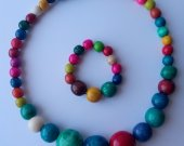 Colorful jewelry set beaded wooden necklace and bracelet | Multicolor necklace and bracelet | Beaded Necklace