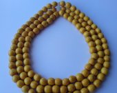 Three strand yellow beaded necklace Beaded Necklace Wooden necklace Women's necklace Hahdmade necklace