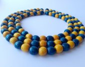 Three strand blue and yellow beaded necklace Beaded Necklace Wooden necklace Women™s beaded necklace Hahdmade necklace