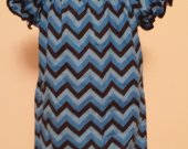Blue, Black Chevron Dress