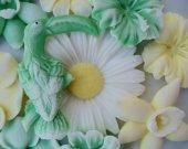 Birds and Flowers Soap Set - wedding gifts, baby shower favor, kids favor, bridal shower favor, baptism