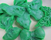 Christmas gift - Butterfly and Bow Soap Set - stocking stuffer, gifts for teen, green soap set
