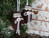 Christmas home hanging fabric ornament brown mittens. Xmas tree hanging decorations. Stuffed fabric small winter decor. New year tree decor