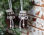Xmas tree hanging plush ornaments small brown mittens. Stuffed hanging Christmas decorations Christmas home fabric rustic ornament Xmas gift