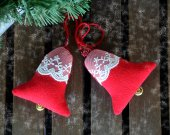 New Year tree hanging ornaments. Christmas tree fabric laces decorations. Winter home hanging red decor bell. Red fabric hanging xmas bell.