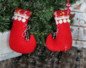 Christmas tree hanging fabric ornaments socks. Xmas red soft hanging toys. New year home decorations.