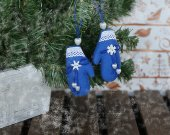Xmas tree hanging plush ornaments small blue mittens. Stuffed hanging Christmas decorations Christmas home fabric rustic ornament Xmas gift