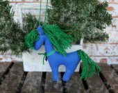 Fabric plush stuffed toy horse. Xmas tree hanging ornaments horse. Blue eco toy horse. Children stuffed eco toy. New Year tree fabric decor