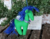 Horse. Plush toy horse. Children soft toy horse. Green horse. Xmas decor. Eco plush Christmas tree ornaments. Stuffed eco toy horse