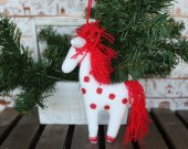 Fabric plush stuffed toy horse. Xmas tree hanging ornaments horse. White eco toy horse. Children stuffed eco toy. New Year tree fabric decor