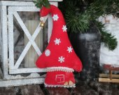 Xmas tree or New Year tree decorations. New Year or Christmas gift. Winter fabric hanging sweet home ornaments. New yea