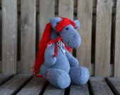 Plush toy for child, horse doll. Grey and red horse. Horse. Funny horse. Running horse. Horse with key. The best friend. Funny plush toy