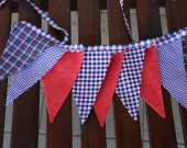 Bunting banner. 9 buntings flags. Fabric tartan flags garland. Red white blue tartan fabric banner. Home hanging decor. Holiday party decor