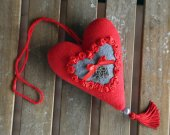 """Red fabric heart """"Love"""". Valentines day heart. Home ornament. Fabric decoration for home. Hanging heart with roses."""