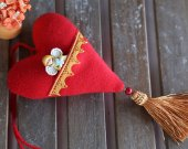 Red fabric heart with pocket and ceramic angel. Gift for Valentine's Day. Valentines day decorations.Decor for hom