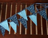 "Blue fabric garland ""Blue flowers"". Polka dot flags. Blue polka dot. Fabric banner. 9 flags garland. Blue hanging home decor. Baby garland"