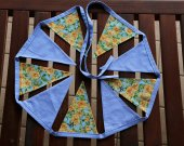 """Fabric cotton linen blue garland """"Roses and butterfly"""". 9 bunting flags. Fabric flag banner. Home fabric ornament. Blue"""