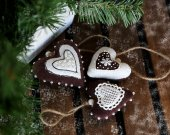 New Year tree hanging fabric ornaments 3 gingerbread cookies. Christmas tree stuffed hanging decorations gingerbread biscuits. Fabric heart