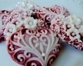 24  heart soap favors - sweet 16 favors - quinceanera favors - burgundy wedding favors - bridal shower favors - heart baby shower favors
