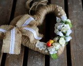 Home hanging summer ornament. Shabby chic decor. Small flower. Spring/summer decorations. Wedding wreath w/small white flowers and fruit.