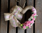 Home hanging summer ornament. Pink decor. Shabby chic heart flowers. Spring/summer decor. Wedding wreath with small pink flowers and fruit.