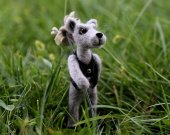 Needle felted wolf-traveller. Interior small doll felted wolf. Miniature animals. Gift for him. Christmas gift.