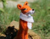 Needle felted author's doll fox. Collectible needle felted doll. Gift for her. Christmas gift