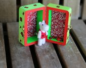 Miniature needle felted white hippo with wooden room box with ladybugs. Mini felted hippo. Miniature felted animals.  With hand-painted box.