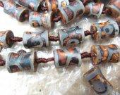 "16"" strand Brown Tibetan Dzi Beads, Tibetan Agate Beads drum barrel cilinder  Green Agate  Tibetan Agate Stones brown green Stone 15-20mm"