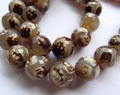 "2strands 16"" Tibetan DIZ  Agate Beads - Round faceted  Gemstone Beads  brown grey  evil agate neckalce green beads 8-16mm"