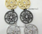 2pcs Top Quality Pave Micro Crystal Pave Diamond Pendant 35mm   Jewelry Focal  Letters Round Disc  Gunmetal  Flower Pave Connetor beads