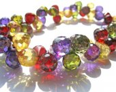 60pcs  Multicolor Cubic Zirconia Beads, Jewelry Craft Supplies diamond teardrop drop faceted  CZ Bracelet  5-9mm