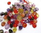 6mm 20pcs  Muticolor Cubic Zirconia Beads, Jewelry Craft Supplies diamond round petal rainbow CZ jewelry