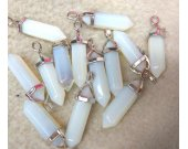 24sets Assorted Crystal Hexagonal Healing point pendant 25-40mm  chakra cut Gmestone opal white  Pendant