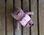 Plush stuffed organic toy pink pig. Adorable stuffed animanl. Handmade pig. Piggy toy. Piglet toy.