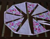 Special offer: cotton fabric garland. Bunting banner girl. Baby bunting. Fabric flags. Fabric banner 9 flags for childr