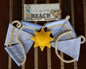 "Fabric garland. Marine style baby garland ""the Sun on the beach"". Home ornament. Summer home decor. Decor for marine party. Garland for son."