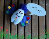Blue monster plush toy Butterfly. Soft bright monster plushie THE FREAKISH collection. Plush toy f