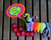 monster plush toy. Soft bright monster plushie THE FREAKISH collection. Caterpillar monster for baby. Rainbow monster