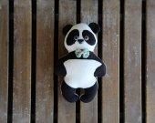 Plush soft panda eco toy. Stuffed panda bear. Organic panda children toy. Animal black and white panda bear.