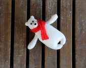 White polar bear eco plush soft toy with knitted scarf. Stuffed white bear children toy, decor for baby™s room. Stuffed