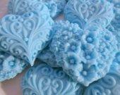 100 heart soap favors - baby blue heart favors - heart baby shower favors - heart wedding favors - heart bridal shower favors - heart favors