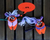 2 monsters  organic plush toy Baby. Bright monster THE FREAKISH collection. Orange monster. Eco plushie.