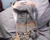 Wool ombre scarf with pom poms