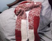 Red and white wool blend knit scarf
