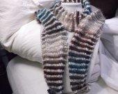 Two yarn striped knit scarf