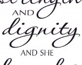 Proverbs 31:25 Bible Verse Wall Decal by Scripture Wall Art ~ She Is Clothed In Strength And Dignity ~Vinyl Wall Sticker