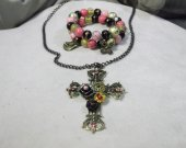 Rose decorated gold color cross necklace and bracelet jewelry set