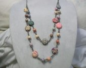 Double strand floral acrylic bead necklace with two styles of beads