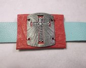 Red and turquoise Cross bracelet leather strap